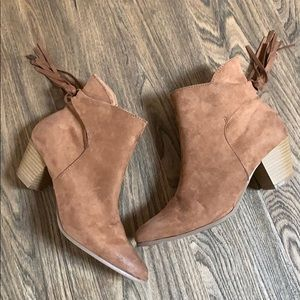 Qupid Western Pointed Booties with Tied Fringe